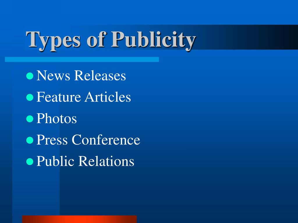 Types of Publicity