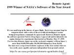 remote agent 1999 winner of nasa s software of the year award