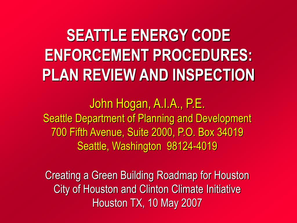 seattle energy code enforcement procedures plan review and inspection