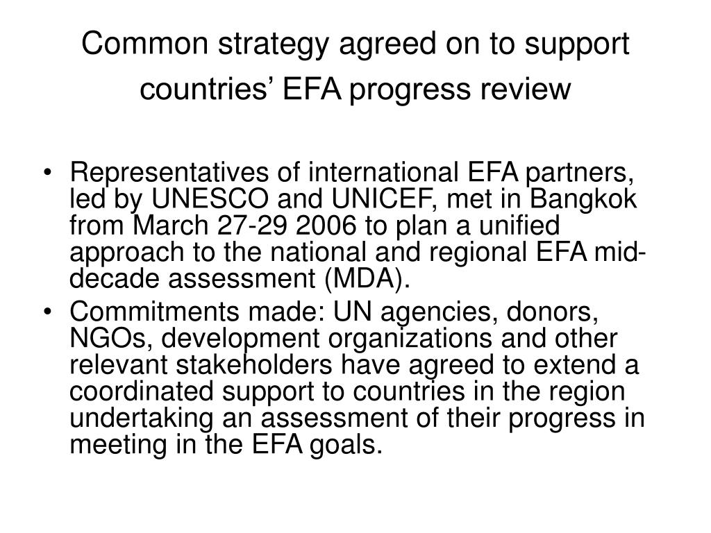 Common strategy agreed on to support countries' EFA progress review