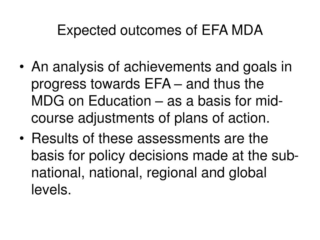 Expected outcomes of EFA MDA