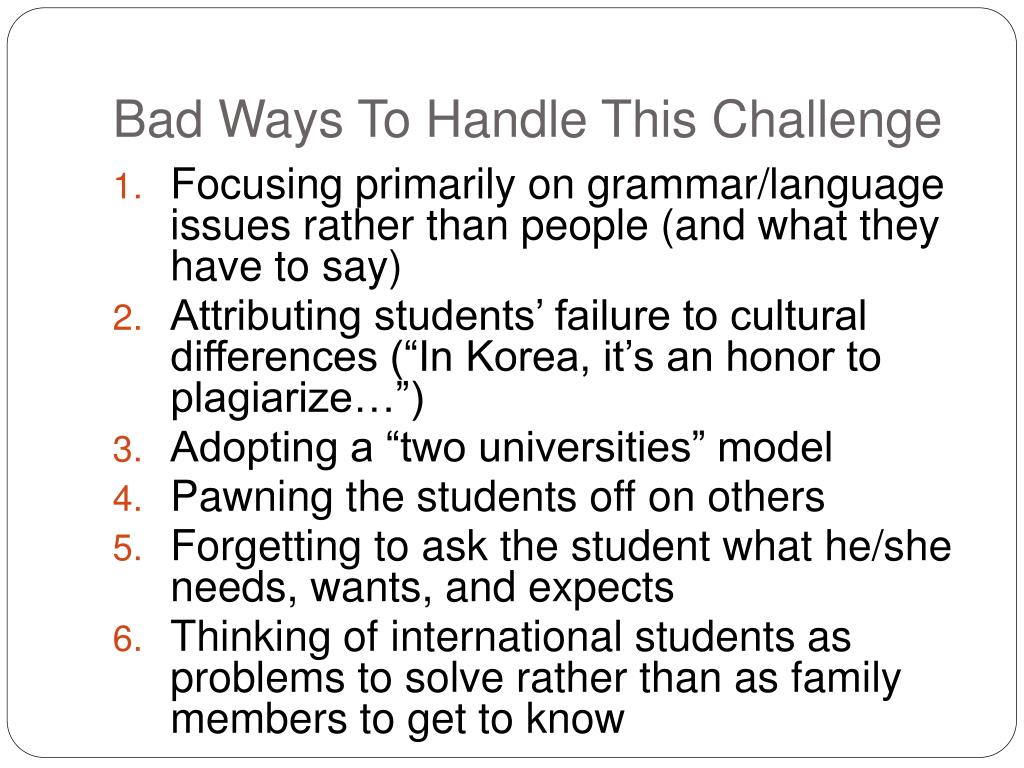 Bad Ways To Handle This Challenge