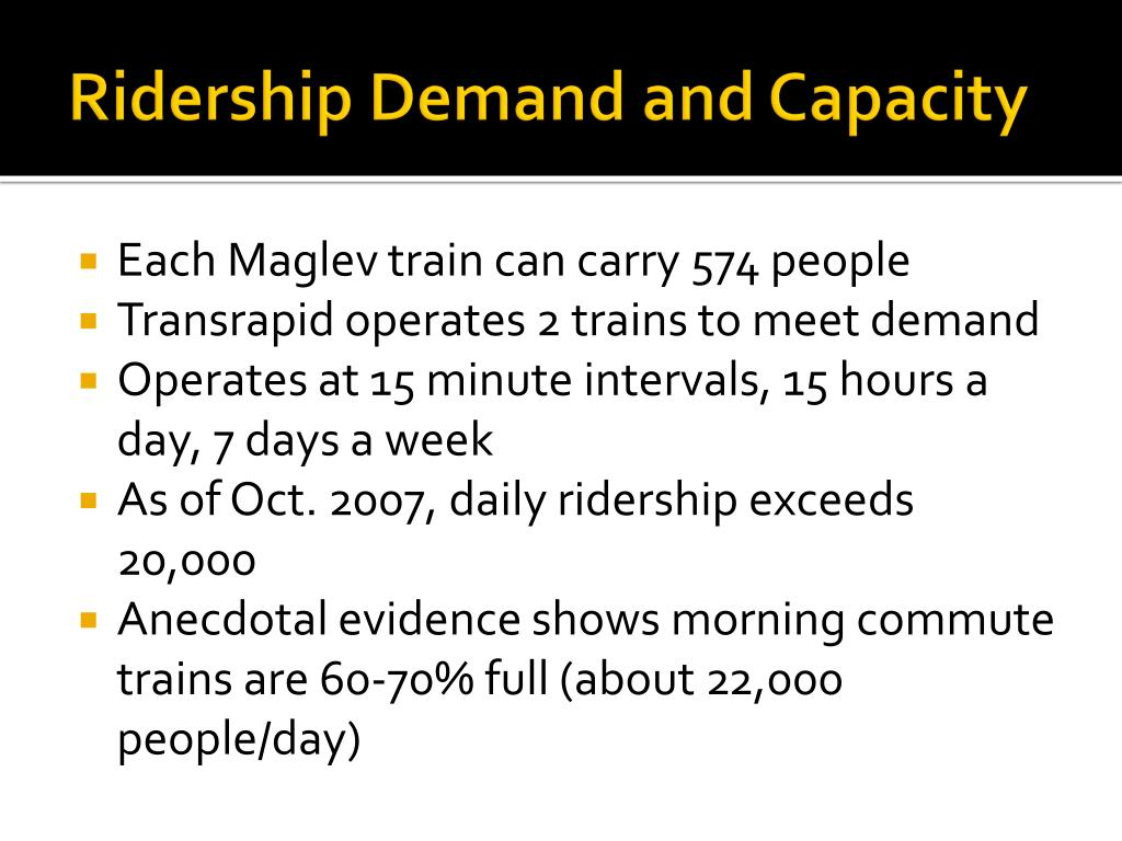 Ridership Demand and Capacity