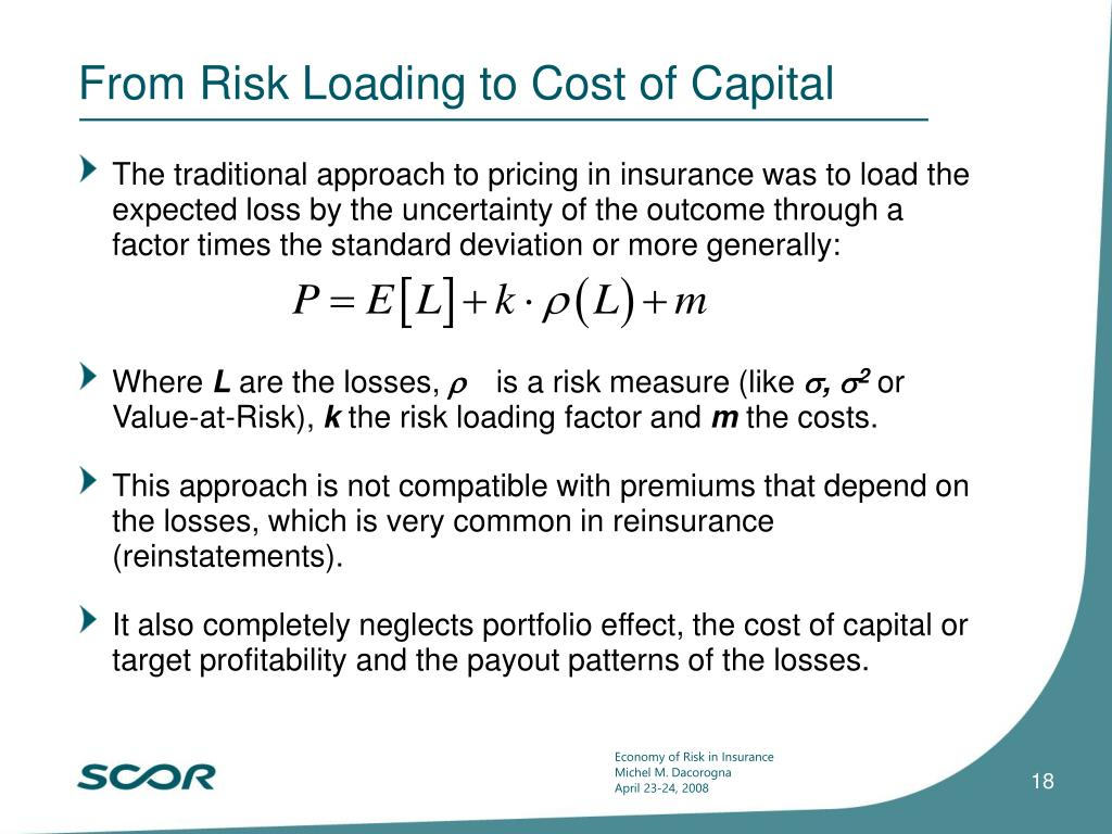 From Risk Loading to Cost of Capital