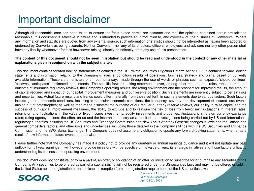 Important disclaimer