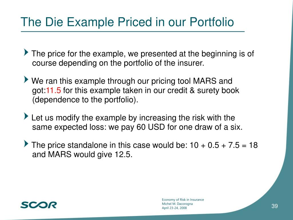 The Die Example Priced in our Portfolio