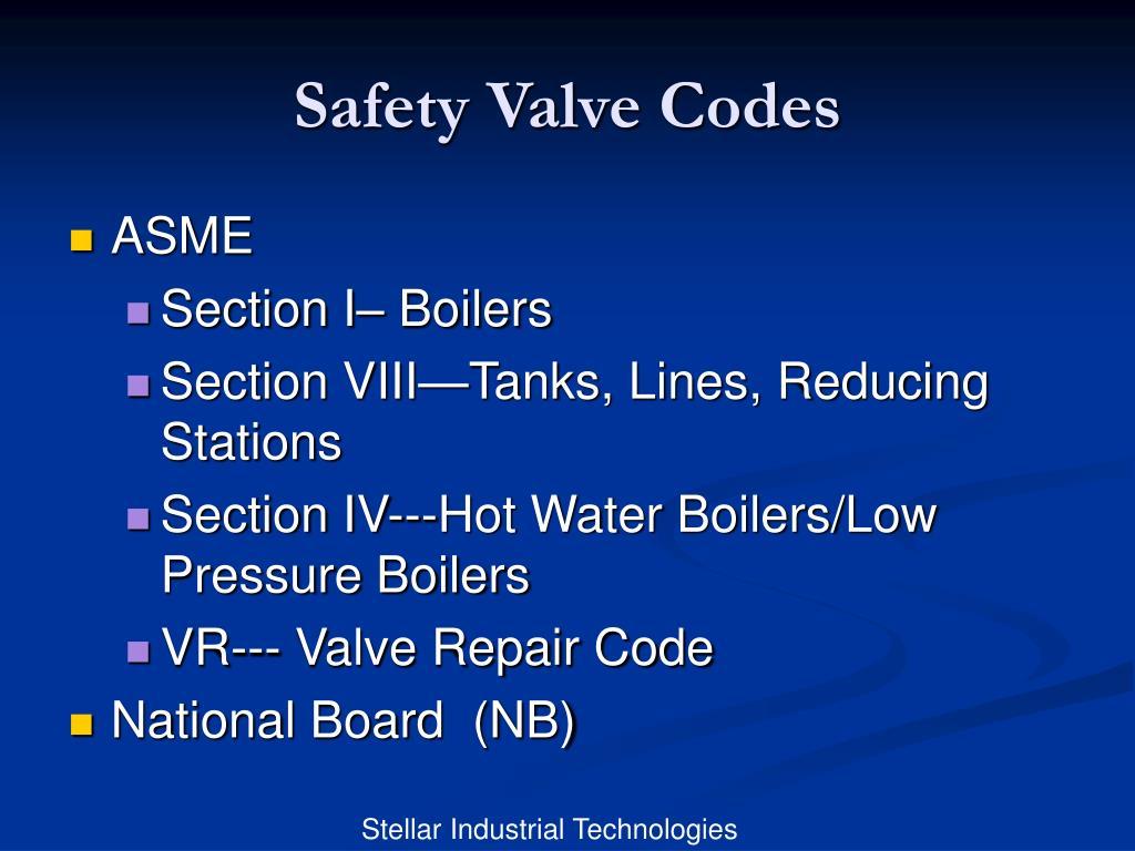 Safety Valve Codes
