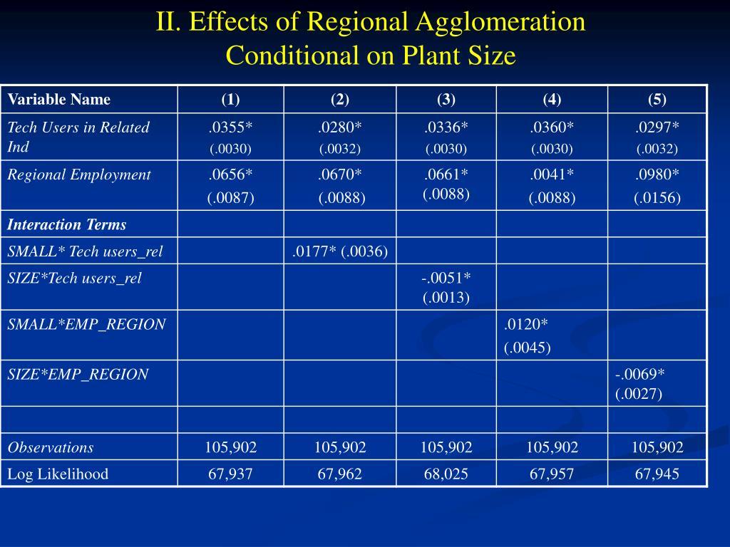 II. Effects of Regional Agglomeration