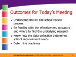 outcomes for today s meeting