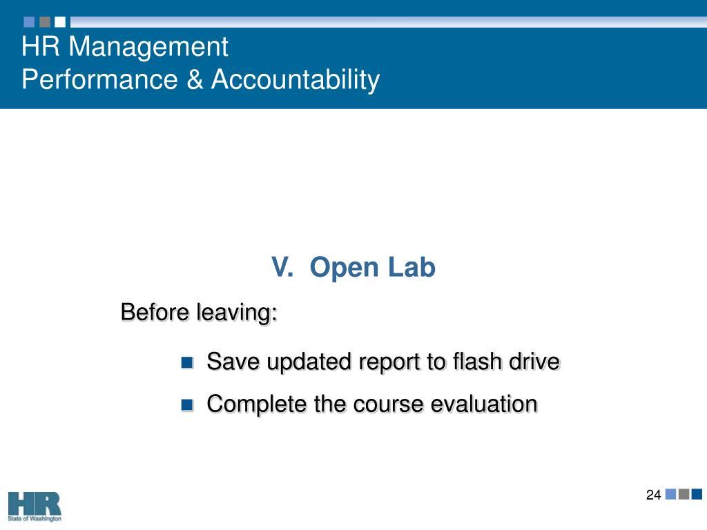 V.  Open Lab