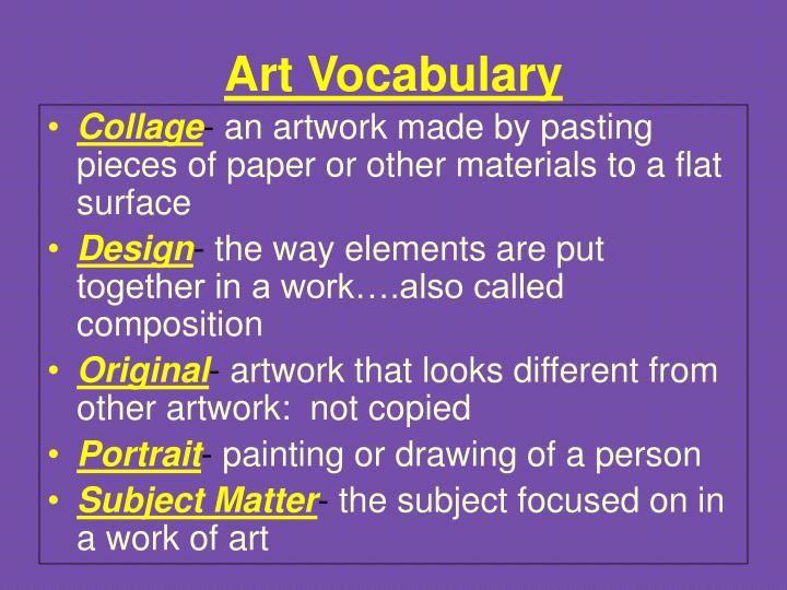 Art vocabulary