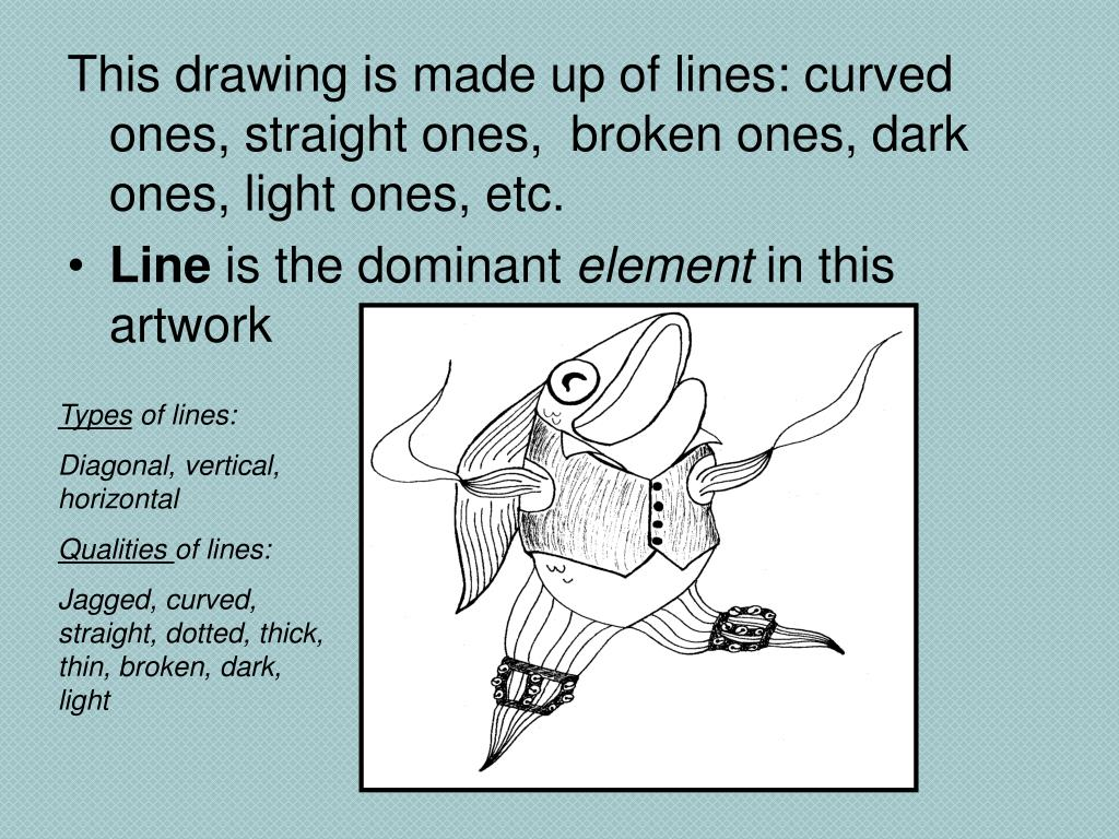 This drawing is made up of lines: curved ones, straight ones,  broken ones, dark ones, light ones, etc.