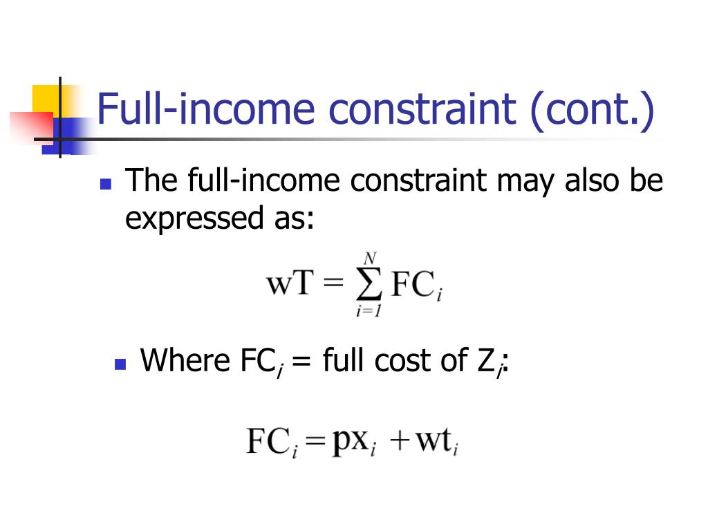 Full-income constraint (cont.)
