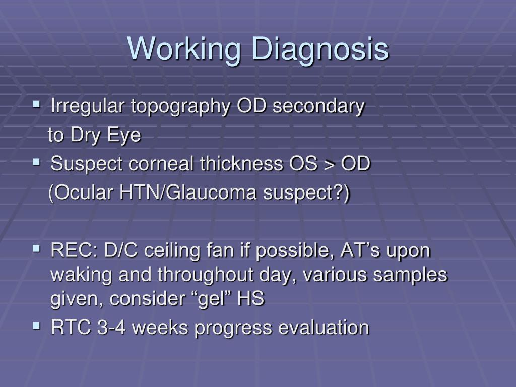Working Diagnosis