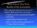 high schools that work results of the assessment