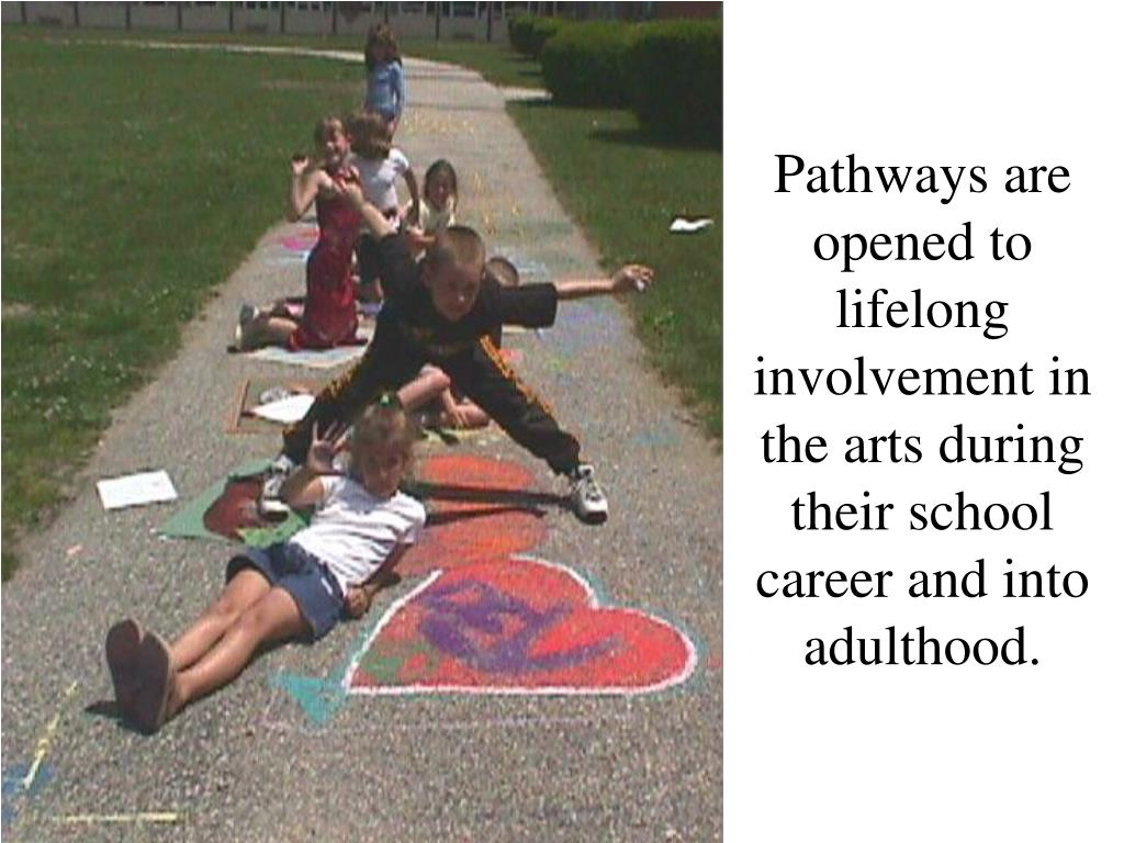 Pathways are opened to lifelong involvement in the arts during their school career and into adulthood.