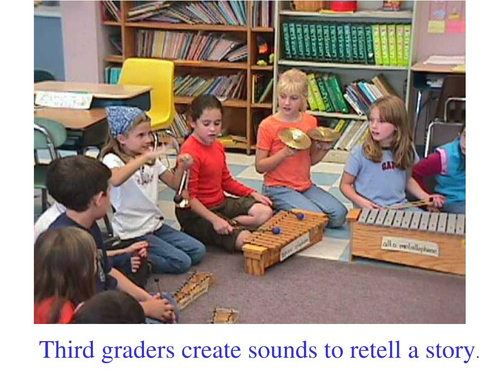Third graders create sounds to retell a story