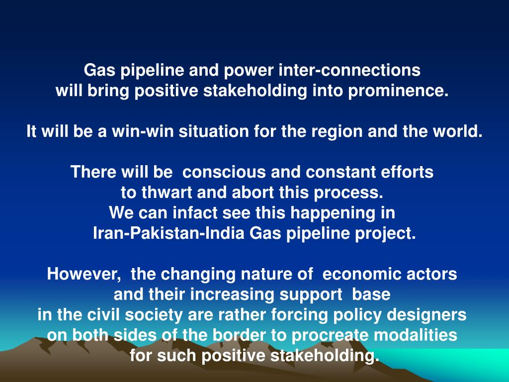 Gas pipeline and power inter-connections