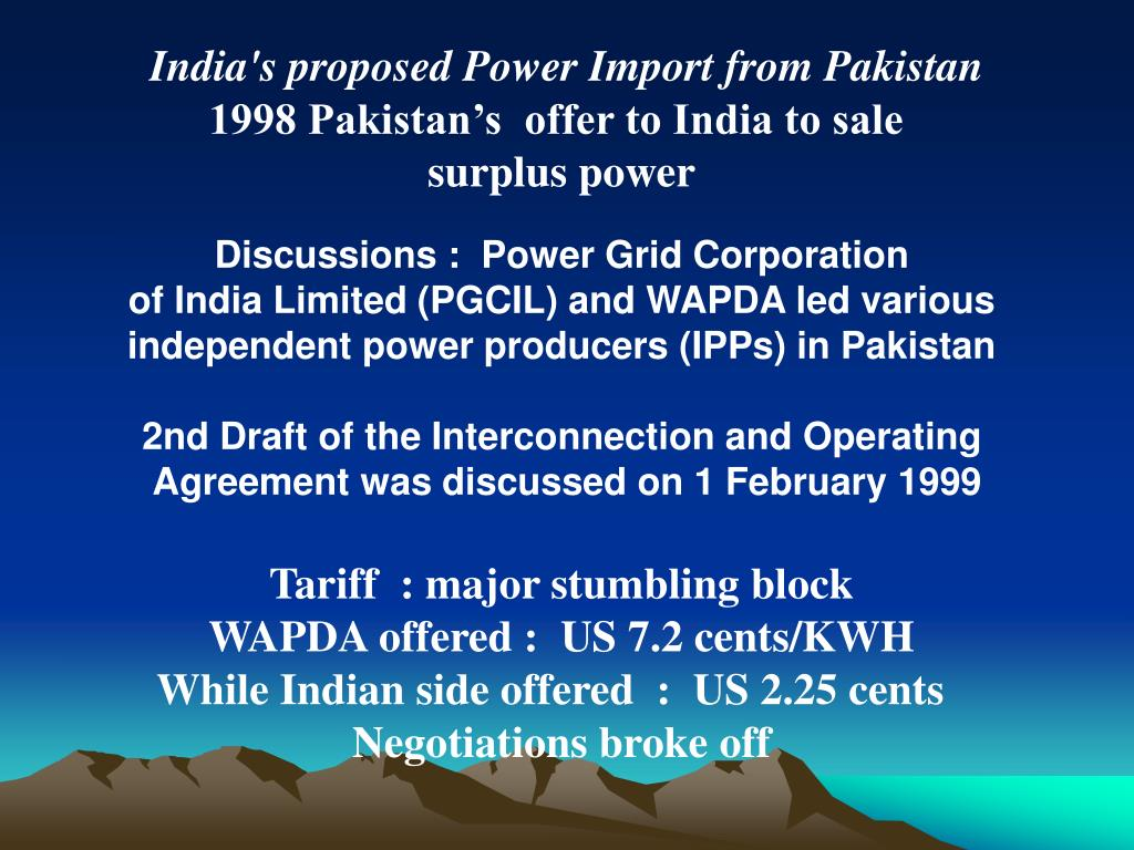India's proposed Power Import from Pakistan