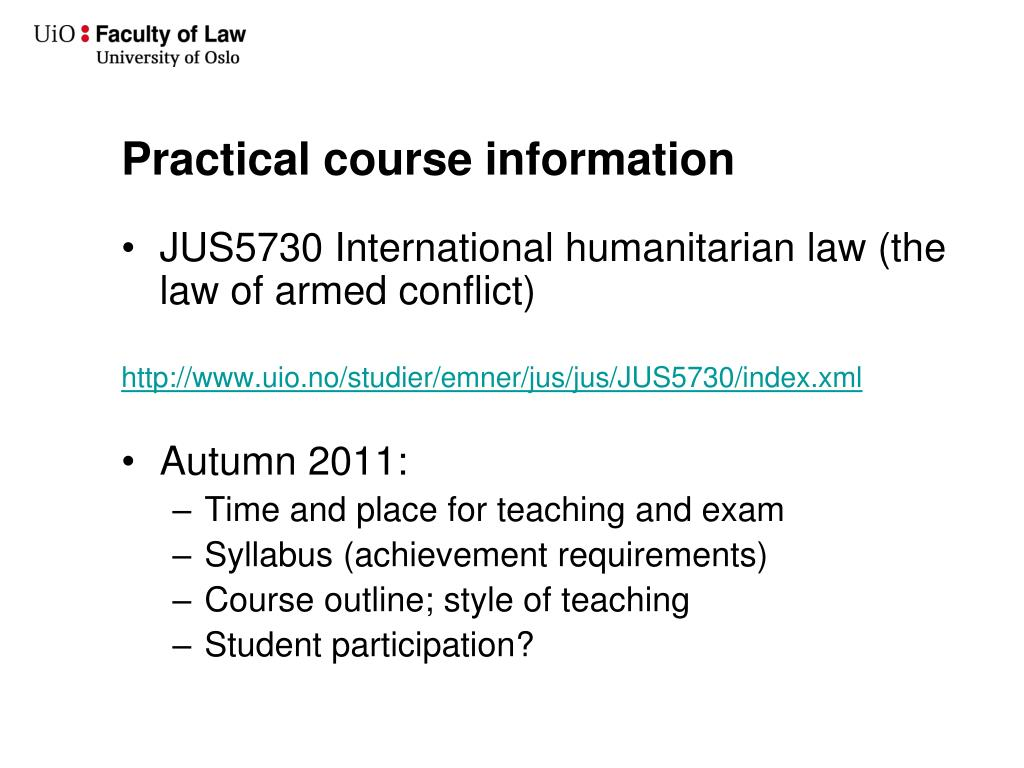 Practical course information