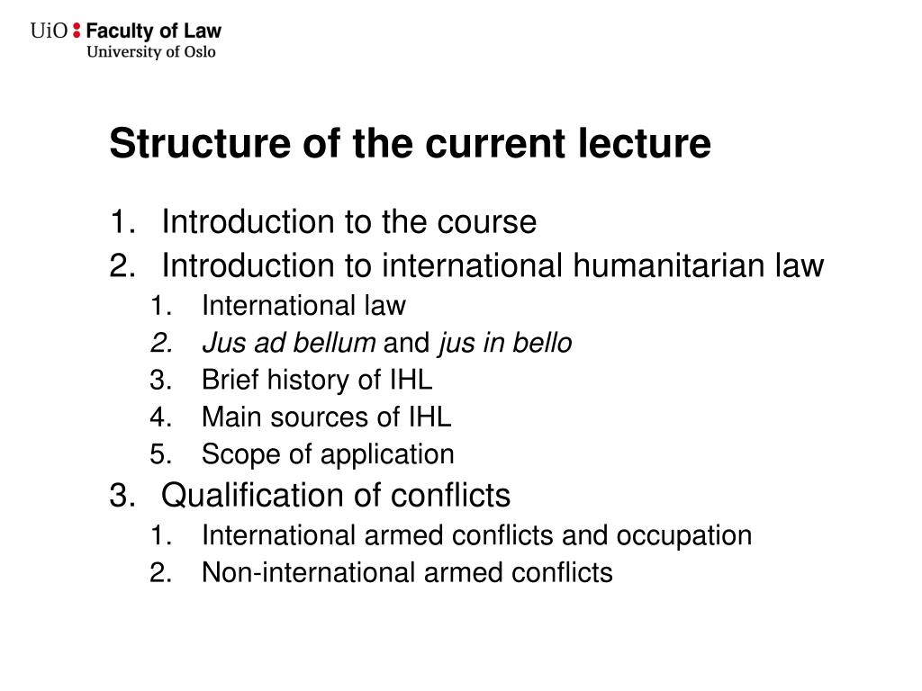 Structure of the current lecture