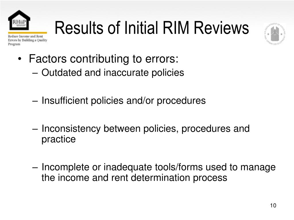 Results of Initial RIM Reviews