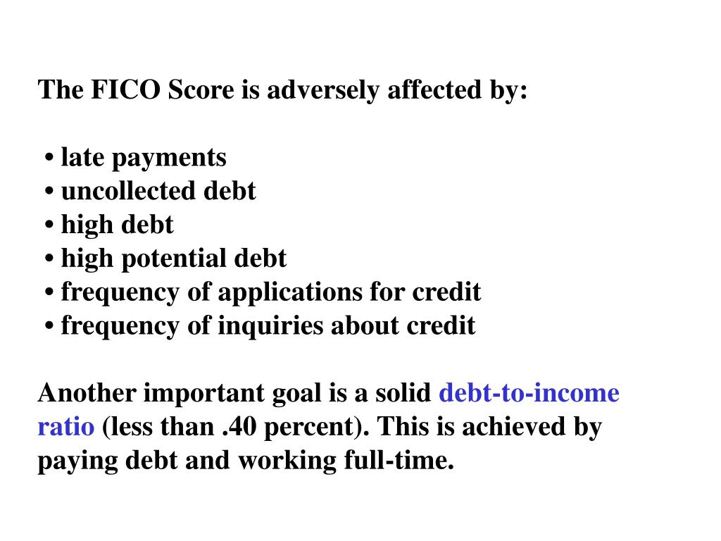 The FICO Score is adversely affected by: