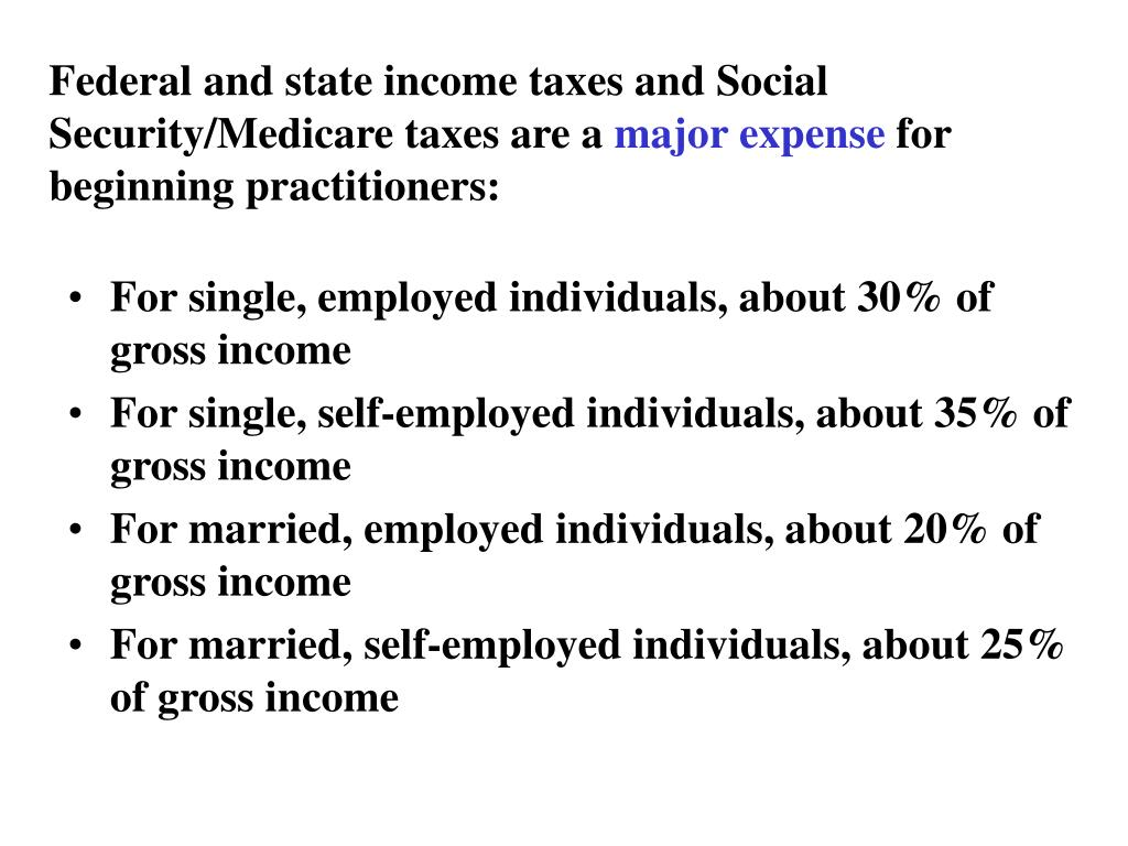Federal and state income taxes and Social Security/Medicare taxes are a