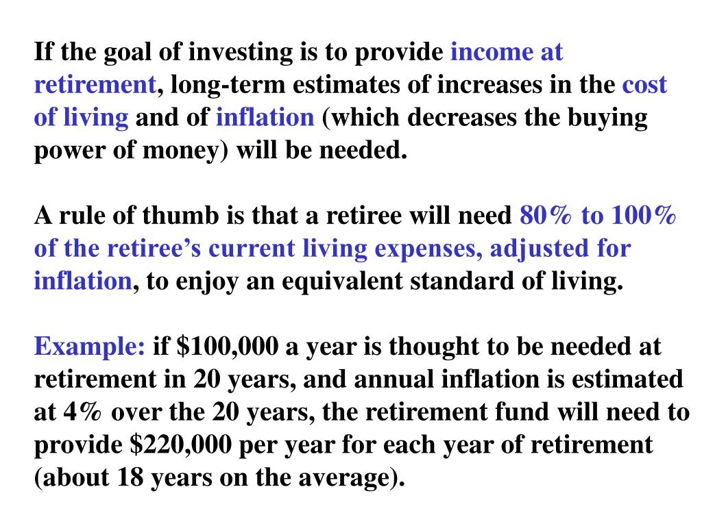 If the goal of investing is to provide