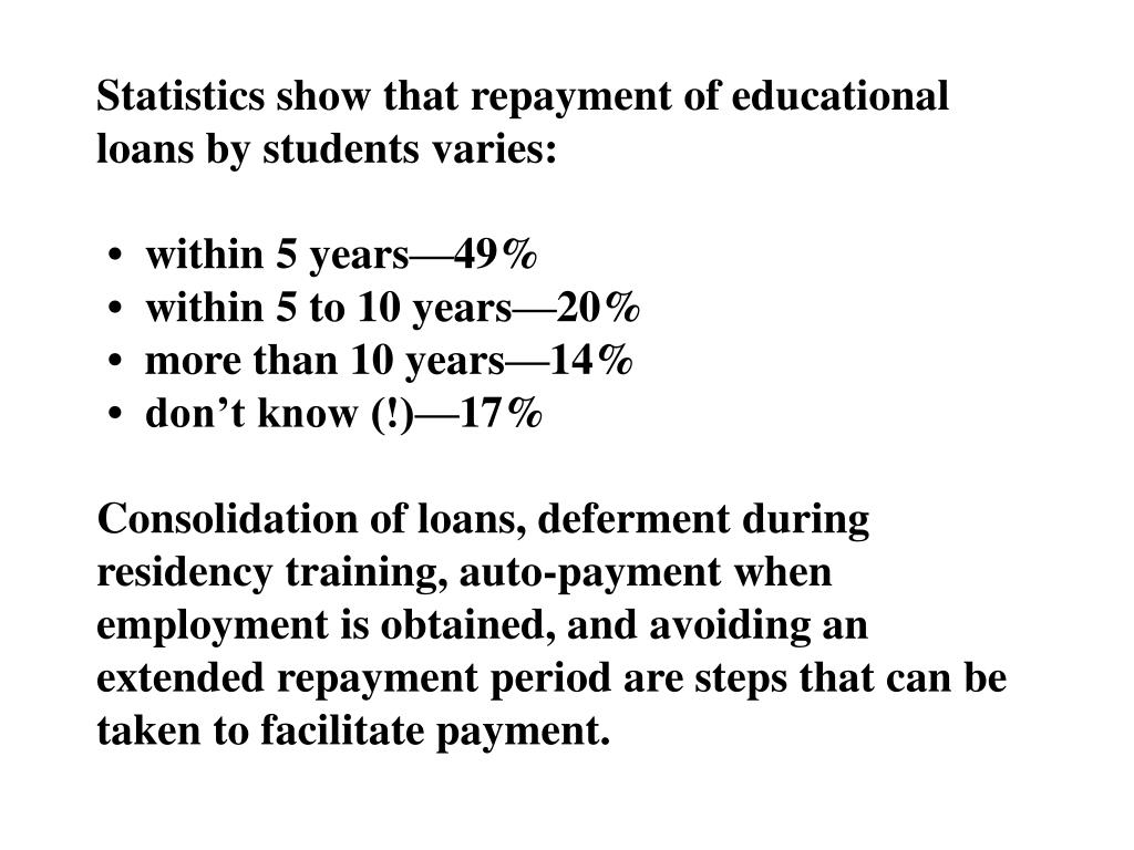 Statistics show that repayment of educational loans by students varies: