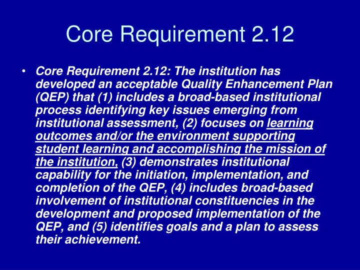 Core requirement 2 12