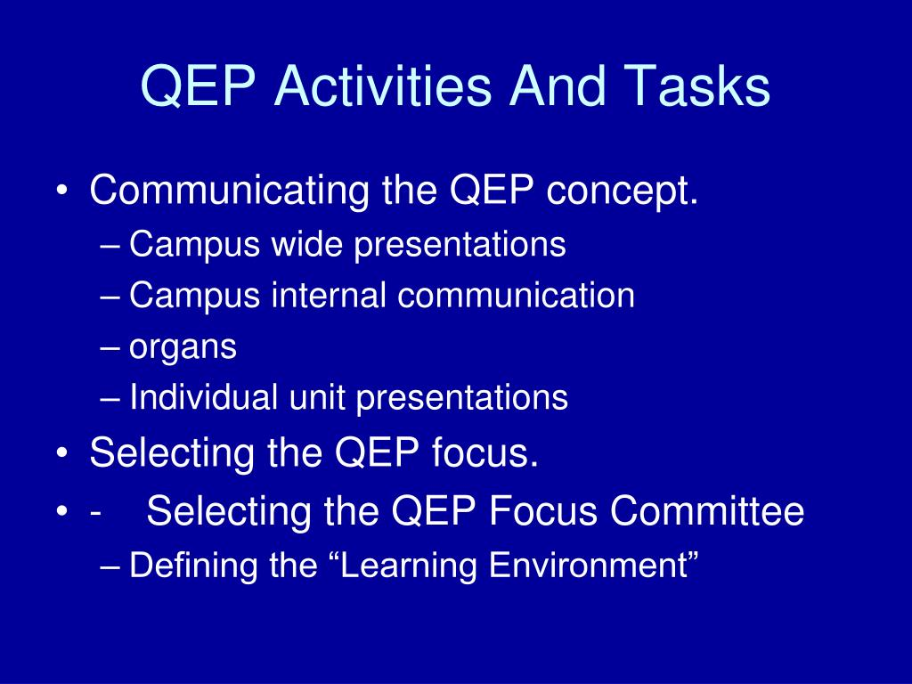 QEP Activities And Tasks