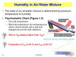 humidity in air water mixture