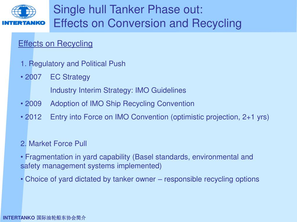 Single hull Tanker Phase out: