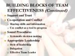 building blocks of team effectiveness continued