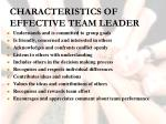 characteristics of effective team leader