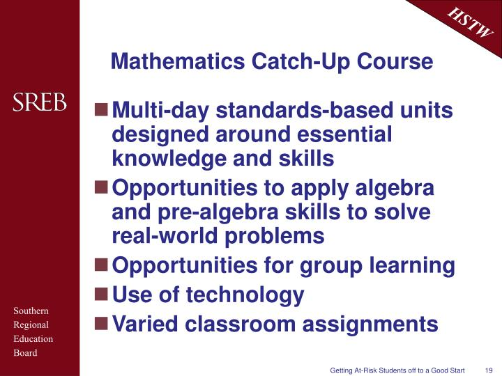 Mathematics Catch-Up Course