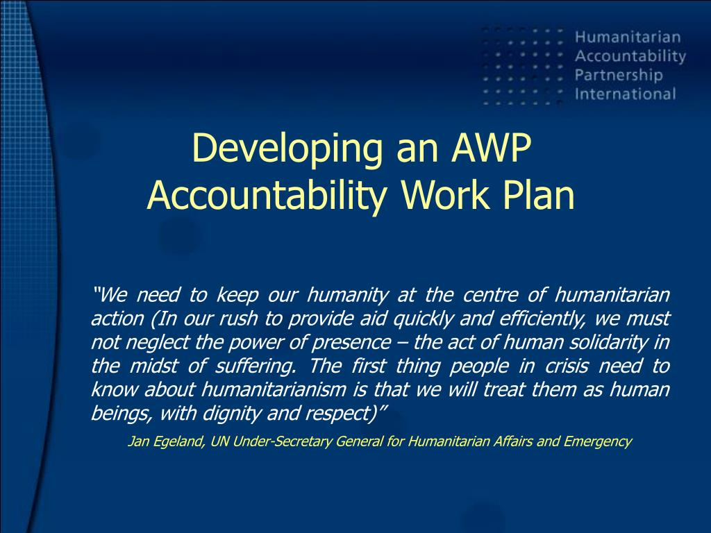 developing an awp accountability work plan