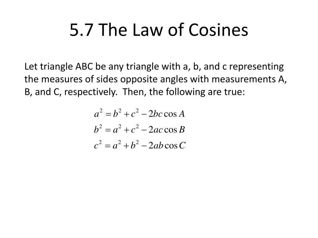 5.7 The Law of Cosines