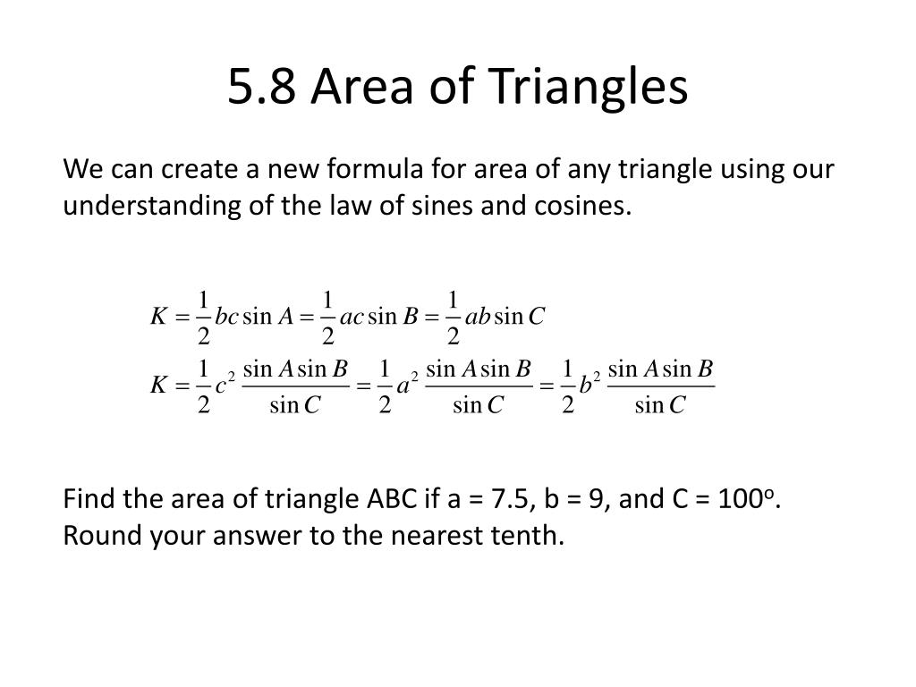 5.8 Area of Triangles