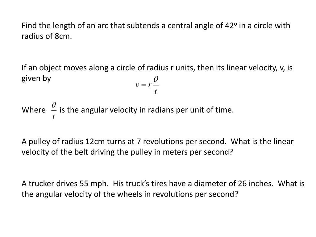 Find the length of an arc that subtends a central angle of 42