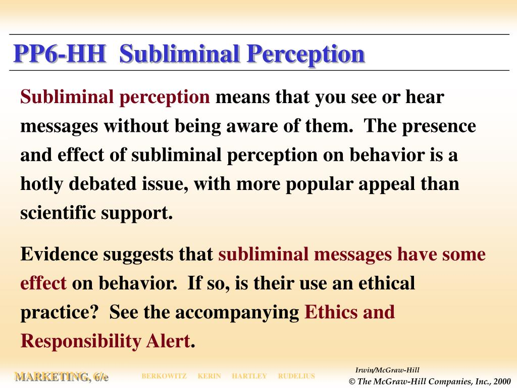 PP6-HH  Subliminal Perception