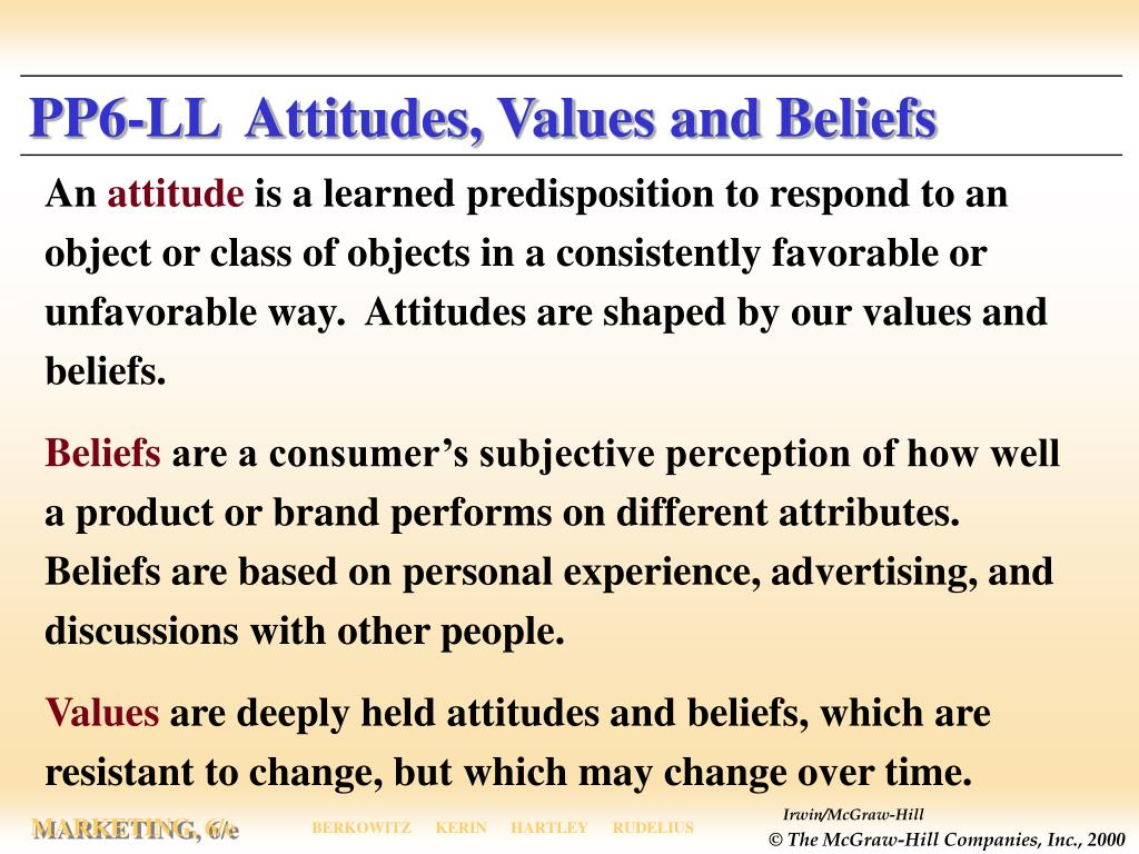 PP6-LL  Attitudes, Values and Beliefs