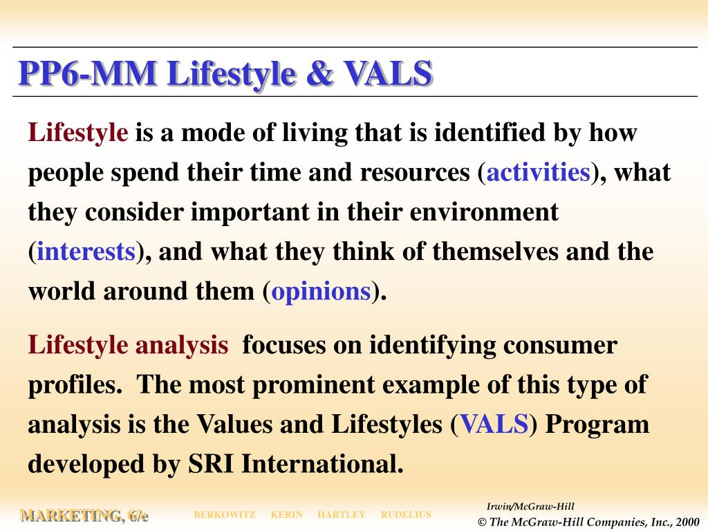 PP6-MM Lifestyle & VALS