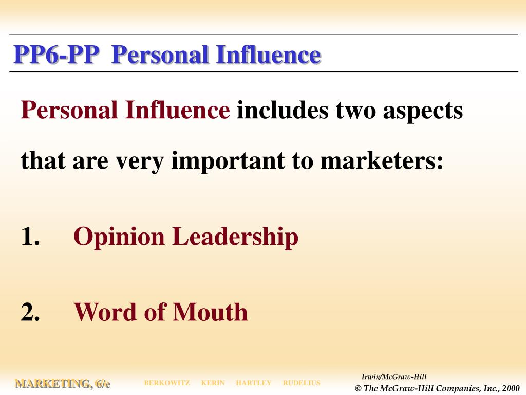 PP6-PP  Personal Influence