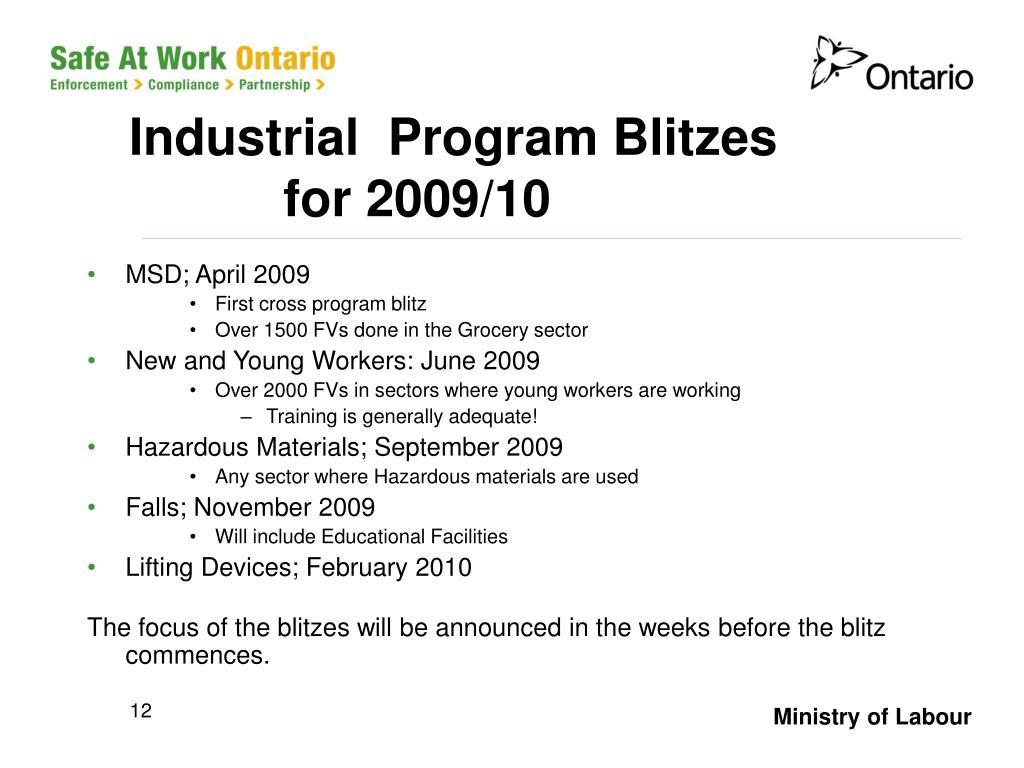 Industrial  Program Blitzes