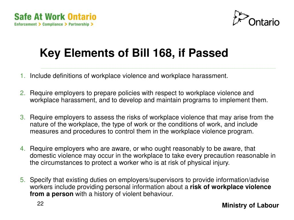 Key Elements of Bill 168, if Passed