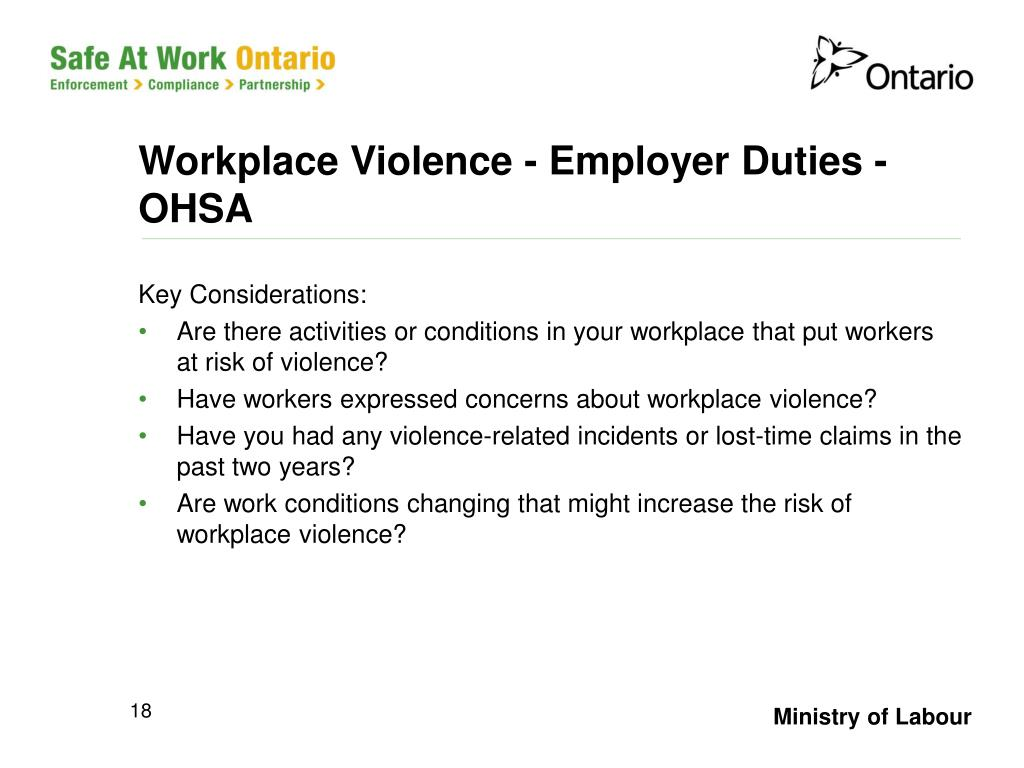 Workplace Violence - Employer Duties - OHSA