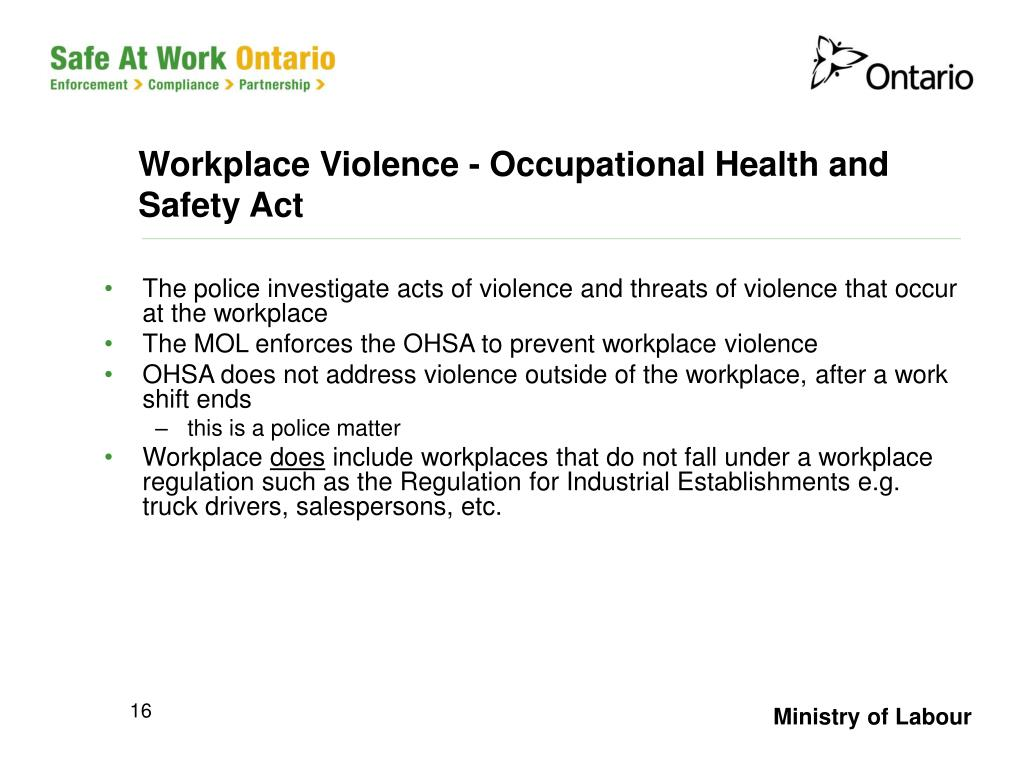 Workplace Violence - Occupational Health and Safety Act