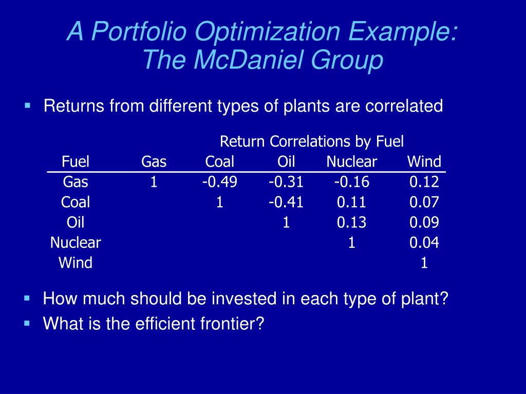 A Portfolio Optimization Example: